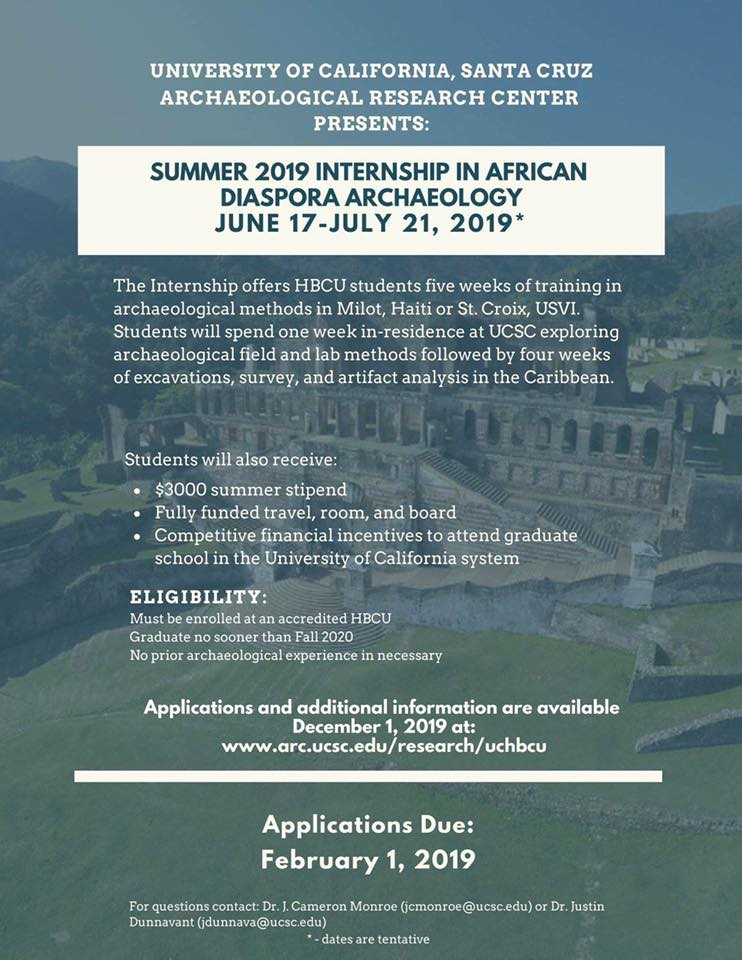 Paid Summer 2019 Archaeology Internship for HBCU Students