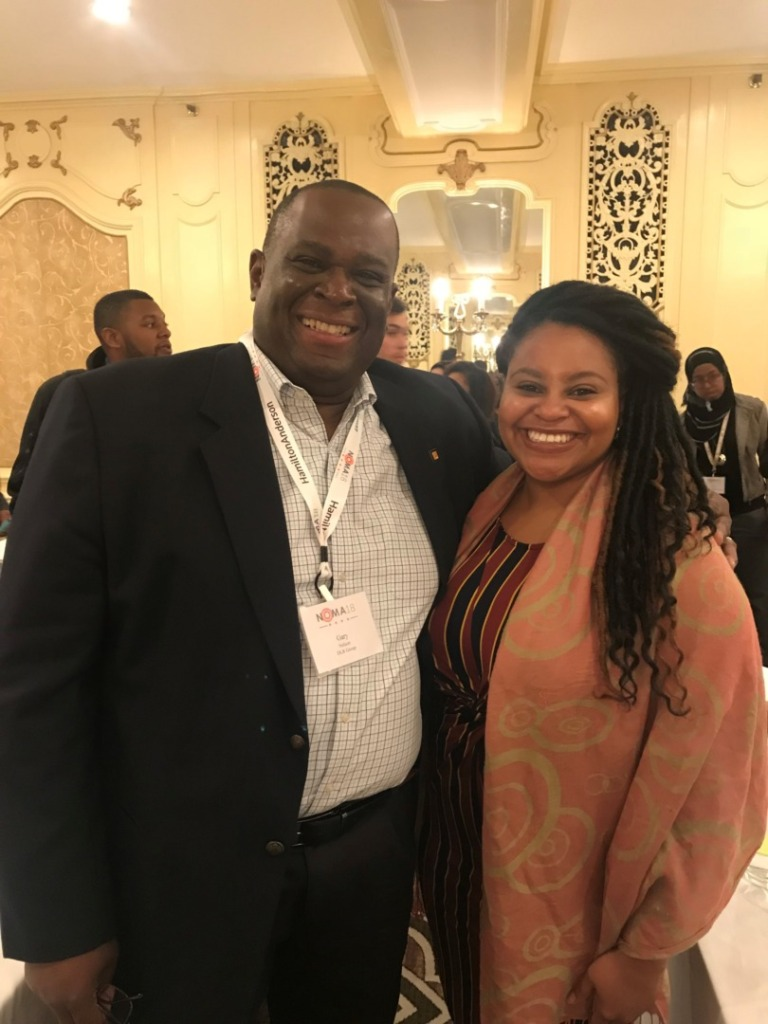 Gary Nelson - Catching up with his first mentee Alexandra Taylor at NOMA '18, photo credit: NOMAarizona - Voices
